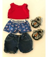 Build A Bear Workshop BABW Clothes Outfit Top Shorts Boxers Sketchers Sn... - $12.99