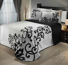 Lord Gray Black Reversible Brocade Bedspread Set New Bedding Colcha by I... - $103.36+