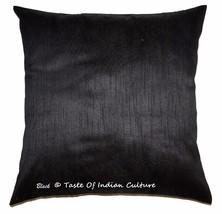 Schwarzes Quadrat Kissenbezug Dupionseide Sofa Couch Indischer Überwurf ... - $7.01
