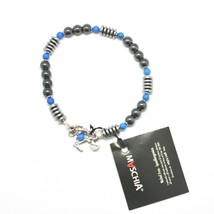 Silver Bracelet 925 with Turquoise and Hematite BLE-2 Made in Italy by M... - $63.92