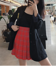 Plus Size RED Plaid Skirt Outfit High Waisted Full Pleated Plaid Tennis Skirts image 2