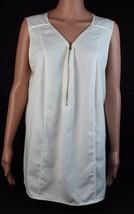 Calvin Klein women's top sleeveless ivory half zipper polyester size 2X - $18.66
