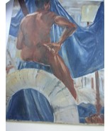 Vintage Painting of Nude African Man posing with Backdrop original art 2... - $127.41