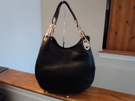 Michael Kors Fulton Large Shoulder Tote Black  W/ Gold Pebbled Leather ... - $267.29
