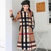 Women DoubleBreasted High Fashion Style Broadcloth Plaid Trench Coat image 2