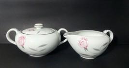 VTG MCM Knight Crest Fine Porcelain Creamer & Sugar Bowl Platinum Trim J... - $22.95