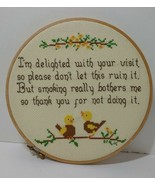 """I'm Delighted with Your Visit Finished Framed Cross Stitch 8.5"""" Hoop No ... - $11.64"""