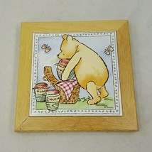 Disney Classic Winnie The Pooh Wall Plaque Tile Wood Frame Hunny Butterfly BCFR4 - $9.95