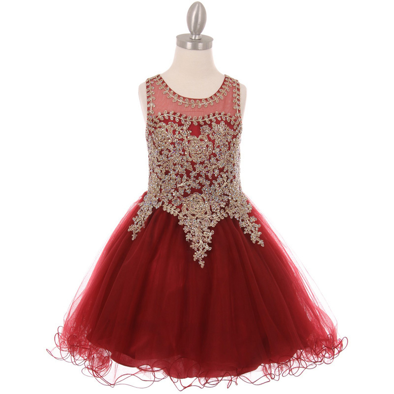 Fuchsia Fabulous Gold Trimmed Corset Back Closure Wired Tulle Skirt Girl Dress