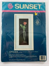 A Single Rose Sunset Counted Cross Stitch Kit #13521 1990 Dimensions NIP - $13.85
