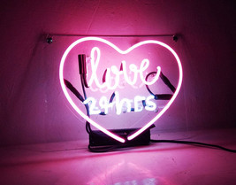 "Handmade 'Love 24hrs' Outdoors Neon Sign Light Room Artwork 15""x10"" - $59.00"
