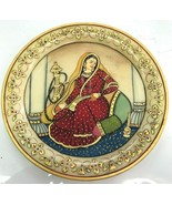 Art Gold Inlay On Marble Plate India Royal city of Jaipur Pure gold Leaf - $46.74