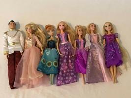 Disney Princess Doll Lot Prince Charming Princess Anna Rapunzel Lot of 7 Dolls - $34.99