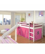 White Junior Loft Bed with Slide Pink Tent Twin Size Wooden Bunk Kids Pl... - $360.26