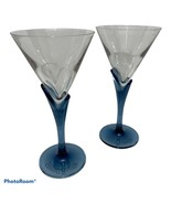 Courvoisier Cognac Glass 2 Ea Blue Stem Martini Cocktail Unleaded Crysta... - $24.99