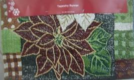 """NEW CHRISTMAS Tapestry Table Runner 13"""" X 68"""" POINSETTIAS - $12.82"""