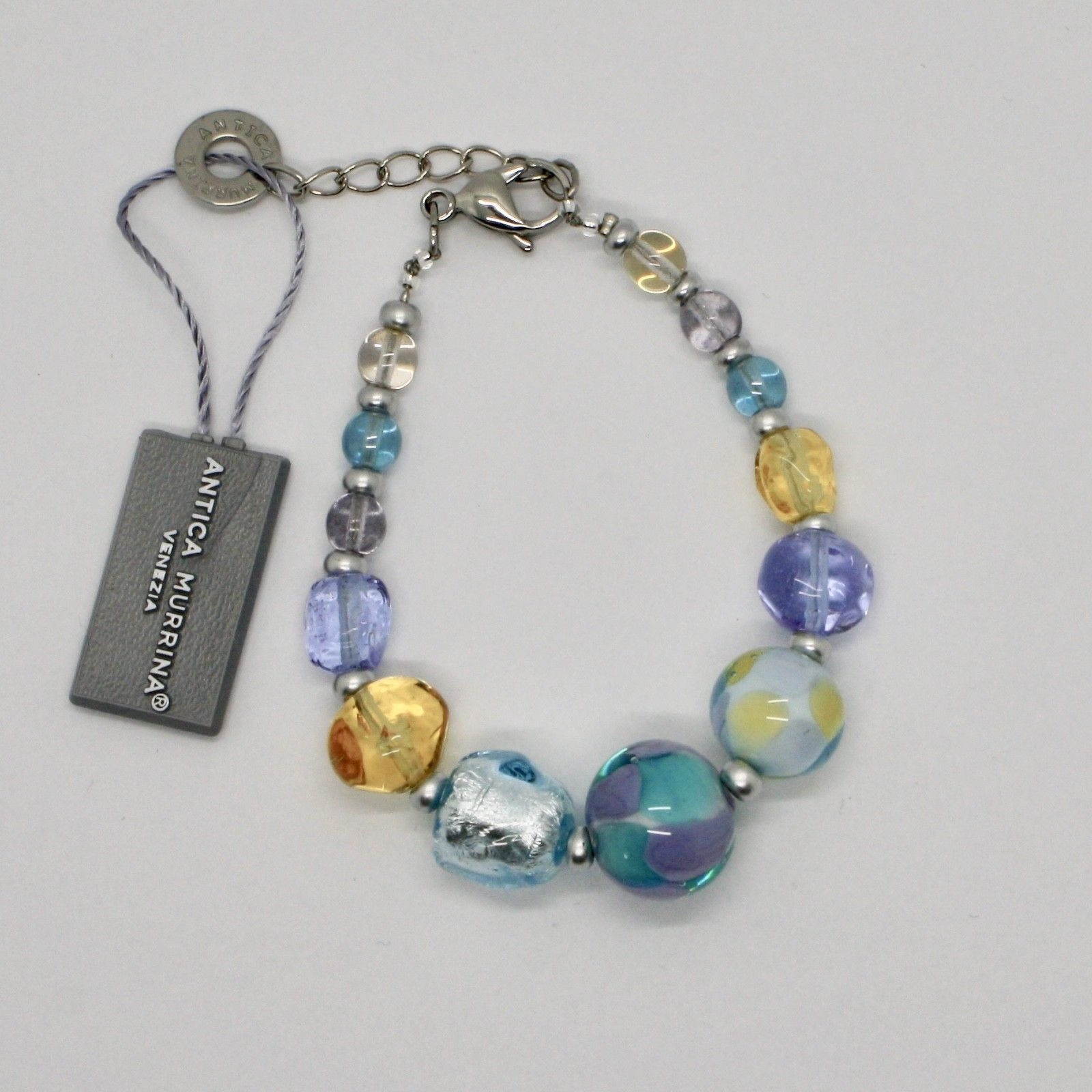 ANTICA MURRINA VENEZIA BRACELET WITH MURANO GLASS BLUE YELLOW BEIGE BR799A07
