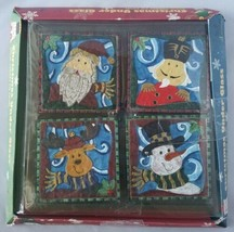 Sommelier Christmas Under Glass Coasters 4 Piece Set Characters Santa Sn... - $23.66
