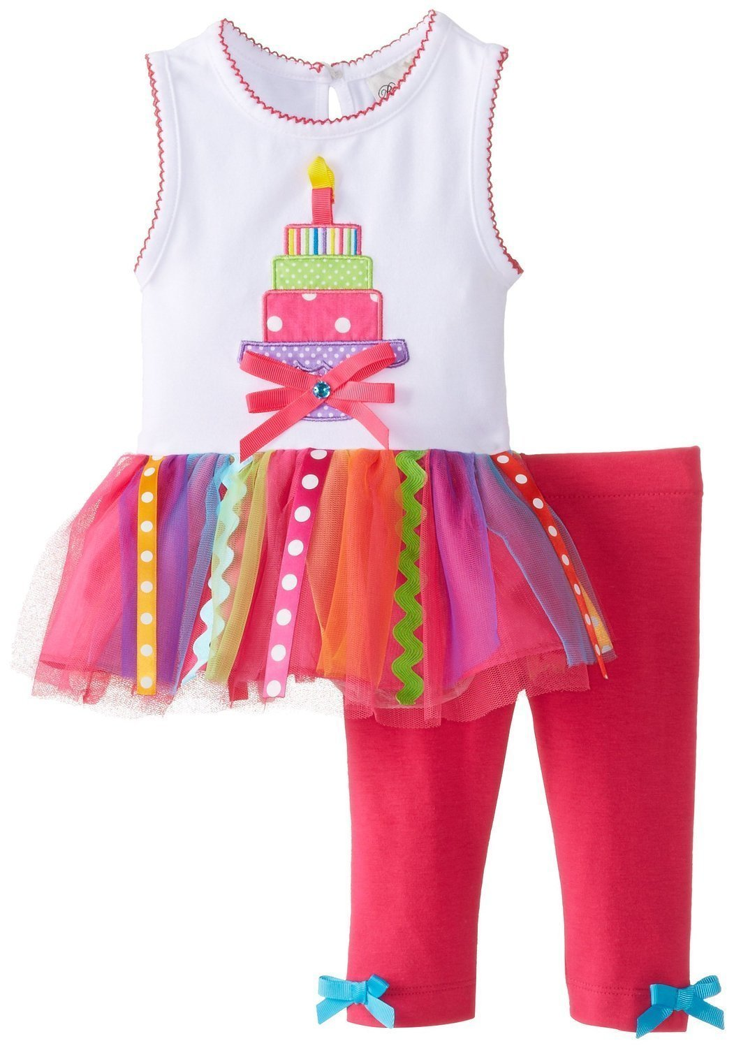 Rare Editions Baby Girl 3M-24M White Birthday Cake Tutu Dress/Legging Set