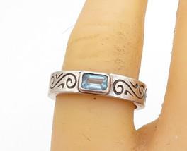 CAROLEE 925 Silver - Vintage Blue Topaz Swirl Etched Band Ring Sz 7 - R17770 - $27.58