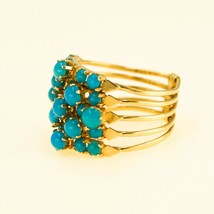 18k Gold STACKER Ring Turquoise And yellow gold HALLMARKED Size I BHS - $1,186.64