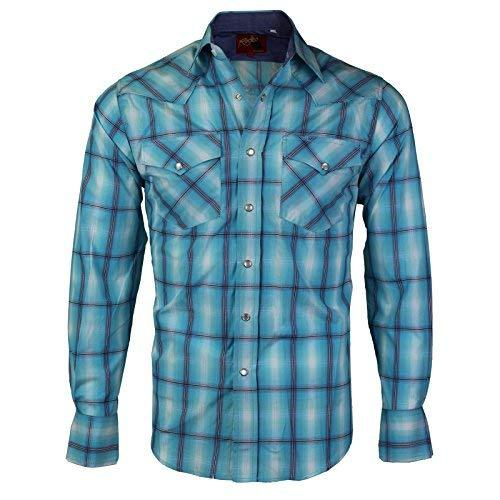 Rodeo Clothing Co.. Men's Western Cowboy Pearl Snap Long Sleeve Plaid Shirt (XX-