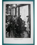 CHRISTMAS in Big City Street Scene Shoppers - 1890s Antique Engraving Print - $12.15