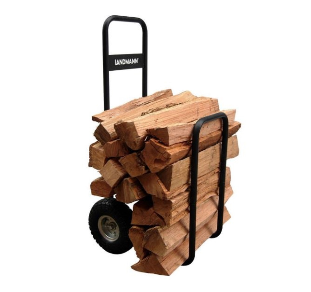Log Cart Wood Carrier Firewood Load Hauler Rolling Caddy Storage Rack with Cover