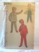 """Simplicity 2286 Vtg 1950's Girls/Boys Jacket Pants Hood SZ 3 Chest 22"""" U... - $10.00"""