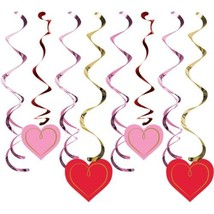 Red Pink Gold Valentines Day 8 Ct Hanging Swirls Danglers Decorations - $4.74