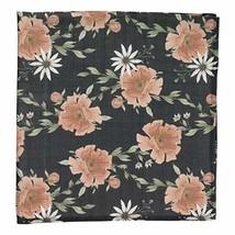 Peony Bloom Charcoal Gray - Soft Muslin Cotton Swaddle Blanket, Newborn Receivin