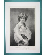 LOVELY GIRL Greek Haidee of Lord Byron - Antique Photogravure Print - $22.95