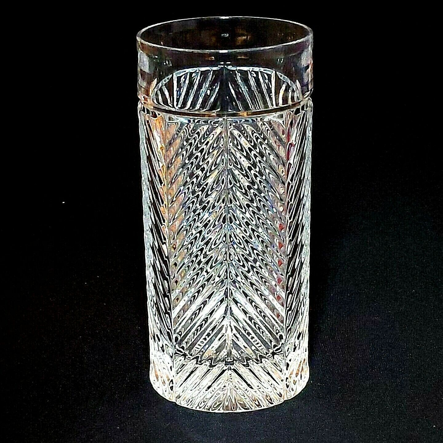 1 (One) RALPH LAUREN HERRINGBONE Lead Crystal Highball Glass-Signed