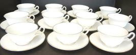 11 White Wedgwood Peony Shaped Cups & Saucers - Gloucester Pattern - $66.49