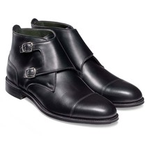 Handmade Men's Black Two Tone Double Monk High Ankle Leather Boots image 5