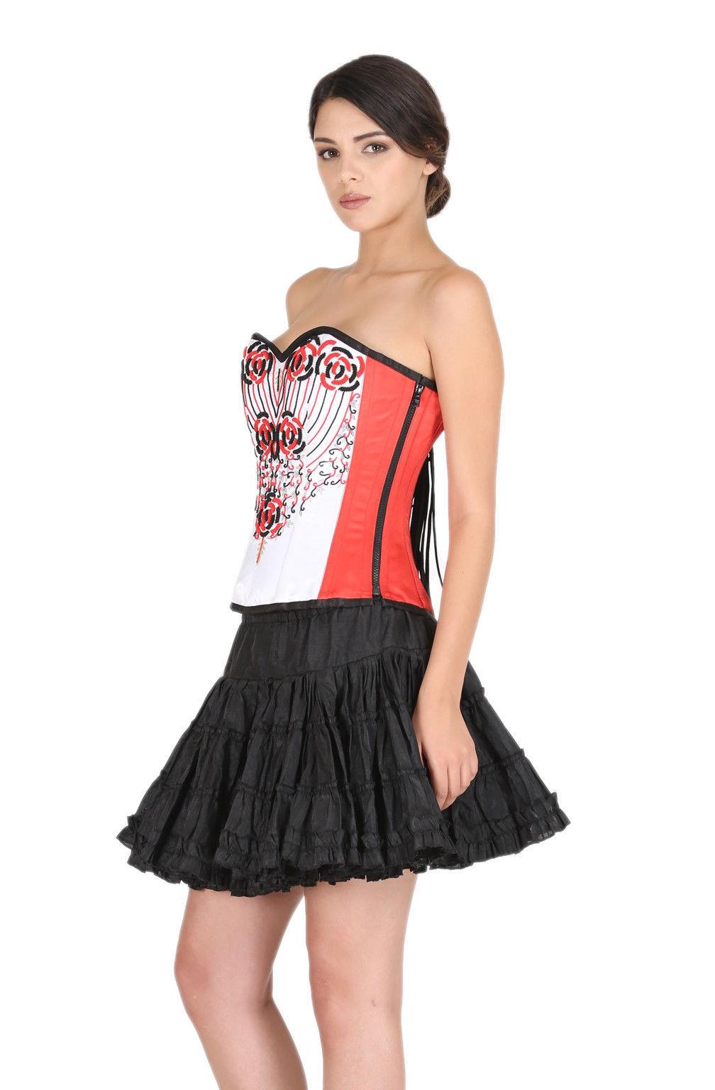 Red White Satin Handmade Sequins Goth Top Silk Tutu Skirt Overbust Corset Dress image 2