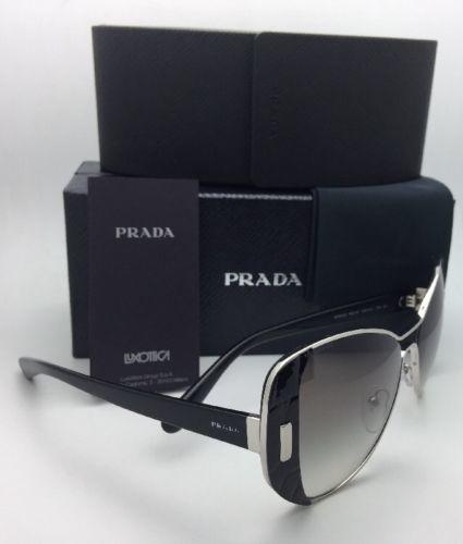 5850b11674 ... New PRADA Sunglasses SPR 60S 1AB-0A7 55-16 Silver   Black Frame w ...