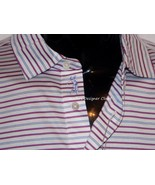 NWT BOBBY JONES M golf casual polo shirt striped blue white pink sheen logo - $58.19