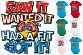SAW IT WANTED IT baby infant bodysuit snapsuit One piece creeper Funny K... - $12.99