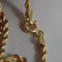 18K YELLOW GOLD CHAIN NECKLACE, BRAID ROPE LINK 15.75 INCHES, MADE IN ITALY image 3