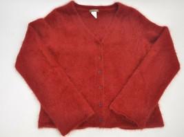 Women's J. CREW Red Burgundy Cardigan Sweater Button Up XL 80% Rabbit An... - $65.60 CAD