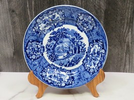"Antique Dark Blue White Transferware Plate 8.75"" Oriental Views  - $33.66"