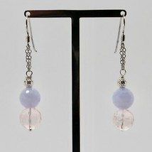 Silver Earrings 925 Rhodium Hanging Pink Quartz Faceted and Chalcedony image 2