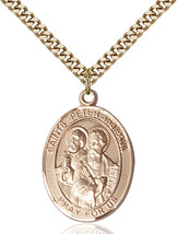 14K Gold Filled St. Peter Pendant 1 x 3/4 inch with 24 inch Chain - $135.80