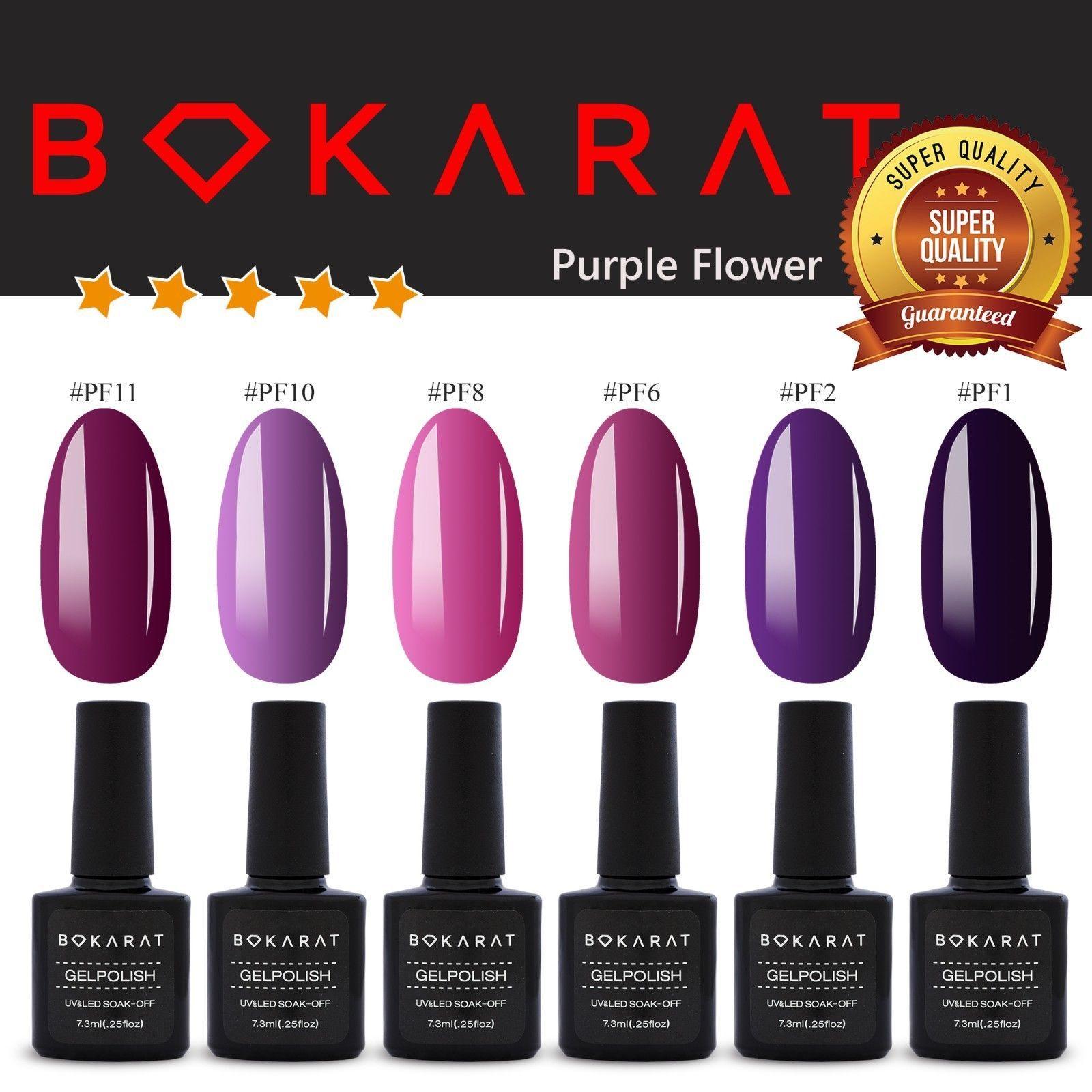 Purple Flower Color Bokarat Gel Nail Polish 7.3 ml Soak Off UV LED High Quality