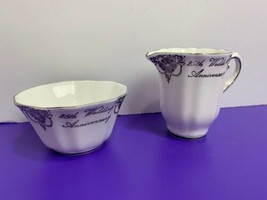 White and Silver Royal Grafton Fine Bone China Cream and Sugar Bowl 25th Wedding - $13.85