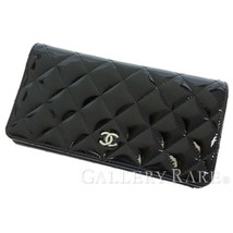 CHANEL Long Wallet Matelasse Patent Leather Black A31509 CC Logo Spain A... - $692.37