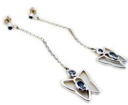 splendid Blue Topaz 925 Sterling Silver Blue Earring genuine supply US gift - $30.68