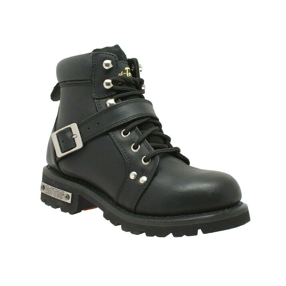 "Primary image for WOMEN'S 6"" YKK ZIPPER BLACK LEATHER MOTORCYCLE BIKER BOOT SIZE 7.5M-WIDTH"