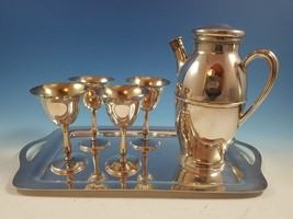 Silverplate Martini Cocktail Pitcher Shake & 4 Glasses on Tray  Forbes S... - $125.00
